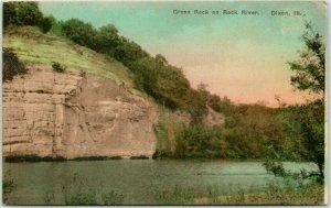 DIXON, Illinois Hand-Colored Postcard Green Rock on Rock River 1926 Cancel