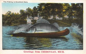 LPM26 Cheboygan Exaggeration Fish Fishing   Michigan Postcard