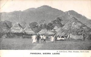 Sierra Leone Panguna, native people, cottages houses village 1907