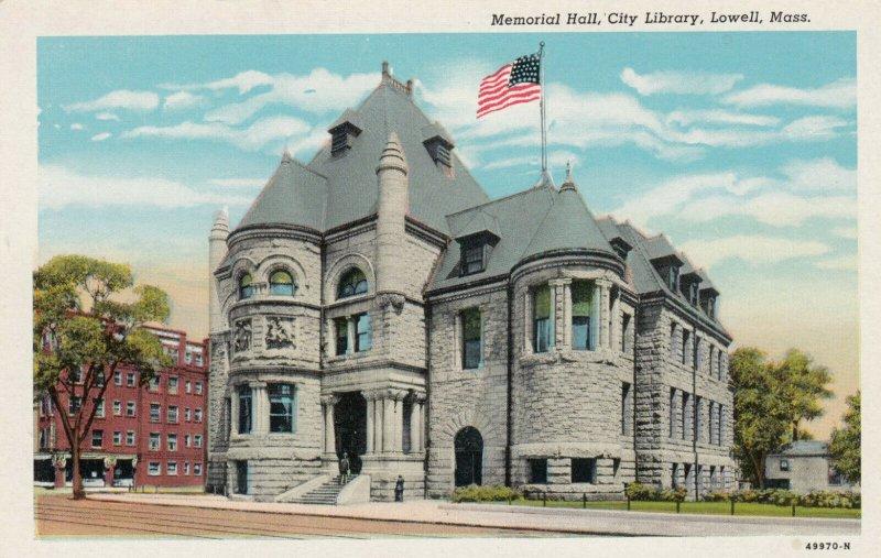 LOWELL , Massachusetts , 1910s ; Library & Memorial Hall