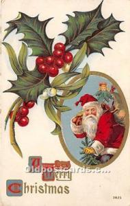 Santa Claus Christmas 1920 crease right top corner
