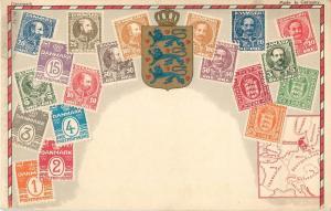 Denmark stamps crest & map old postcard