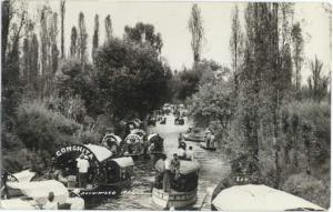 RPPC of Many Boats in Small River at Xochimilco Mexico