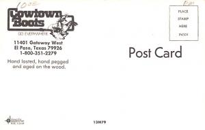 Advertising Post Card Cowtown Boots El Paso, Texas, USA Unused