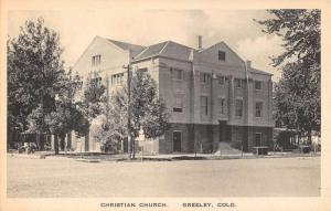 Greeley Colorado Christian Church Street View Antique Postcard K92203