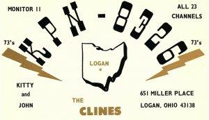 Vintage QSL Postcard   KPN 8326   Logan, Ohio  Kitty and John Cline  -T-