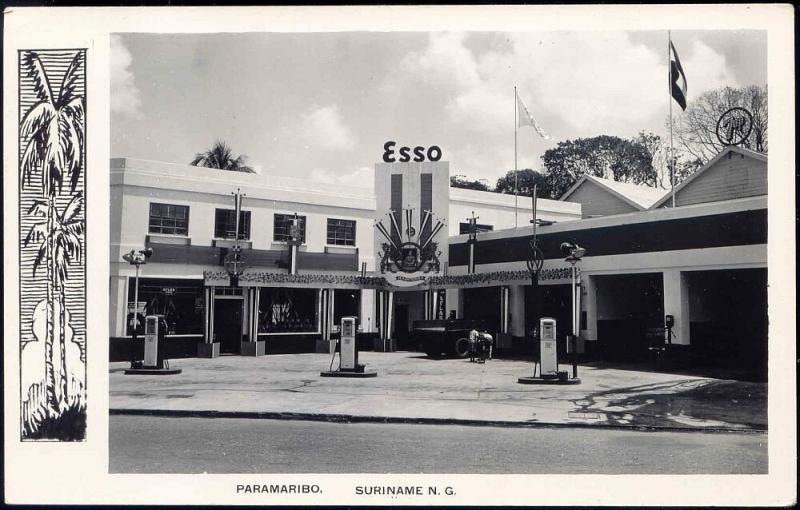 suriname, Dutch Guiana, PARAMARIBO, Esso Gas Station (1940s) RPPC