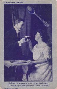 Couple toasting with wine, Spooners Delight, PU-1909