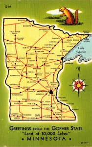 Minnesota Greetings With Map From The Land Of 10,000 Lakes Curteich