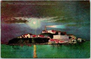 1910s San Francisco, California Postcard ALCATRAZ ISLAND Night View Mitchell