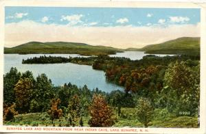 NH - Lake Sunapee. The Lake and Mountain from Indian Cave