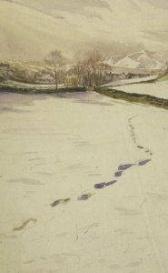 Beatrix Potter Footprints In The Snow Sawrey 1909 Painting Postcard