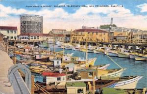 SAN FRANCISCO CA FISHERMAN'S WHARF~TELEGRAPH HILL~BOATS  POSTCARD 1951 PSTMK