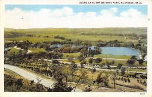 Muskogee Oklahoma~Honor Heights Park~Birdseye Panorama~1936 Linen Postcard