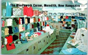 Meredith, New Hampshire Postcard Needlework Corner Fabric Store Interior 1960s