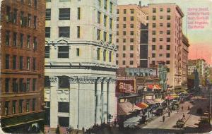Los Angeles California~Spring Street~Hotel Afton~Bank~1910 Postcard