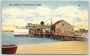 Vineyard Haven Massachusetts~Steamship~Oil Tankers?~Boat Landing~1940s Linen