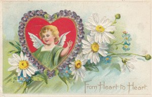 VALENTINE'S DAY, PU-1908; From Heart To Heart, Angel Inside A Heart Surroun...