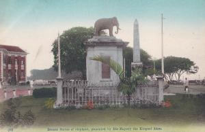 Bronze Statue Elephant From Thailand King Singapore Old Postcard