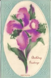 Birthday Greeting on a Vintage Postcard that is Embossed and has Hand Painted
