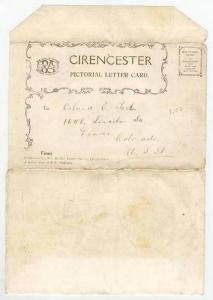 Cirencester, Gloucestershire, England, 1910-20s Letter Post Card