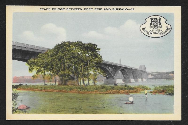 Peace Bridge Between Fort Erie & Buffalo CANADA Unused c1940s