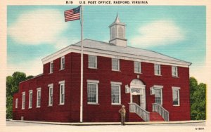 Radford, Virginia, VA, U.S. Post Office, Linen Vintage Postcard g8143