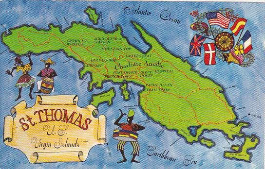 Map Of St Thomas U S Virgin Islands / HipPostcard