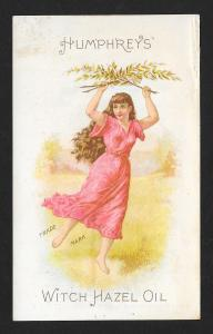 VICTORIAN TRADE CARD Humphrey's Witch Hazel Lady Long Hair