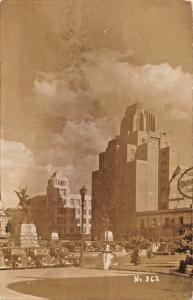 MEXICO CITY~STREET VIEW-LARGE BUILDING-MONUMENT-BEER SIGN-REAL PHOTO POSTCARD