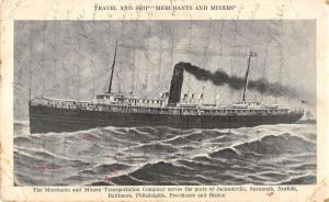 The Merchants and Miners Transportation Co large ship at sea antique pc ZA440544