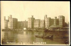 wales, CARNARVON Castle, South Side (ca. 1915) RPPC