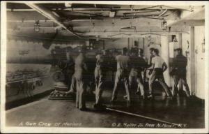 WWI Era Gun Crew of Marines Working Cannon Gun on Ship c1918 RPPC