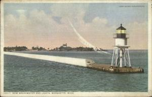 Marquette MI New Breakwater Lighthouse Detroit Publishing Postcard