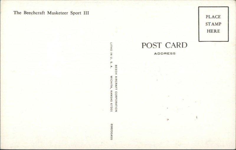 Small-Craft Airplane Beechcraft Musketeer Sport III Postcard