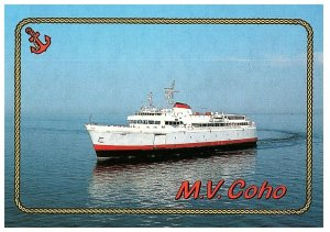 M.V. Coho Ferry in Port Angeles, Washington to Victoria BC Souvenir Postcard