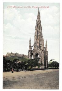 Scotland Scott Monument and Castle Edinburgh Postcard