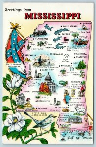 Postcard Mississippi State Map Towns Cities Tourist Stops Flag Confederacy AE8