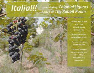Honeoye Falls NY New York Italia at Rabbit Room Restaurant Advertising Ephemera