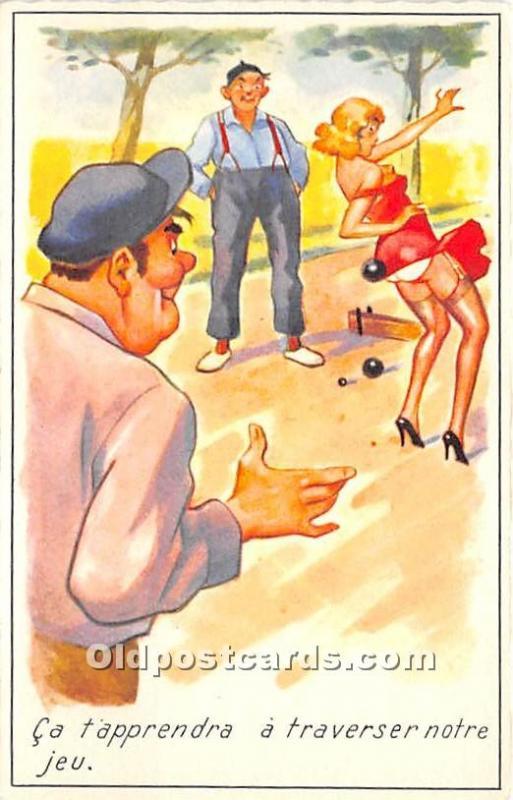 Old Vintage Lawn Bowling Postcard Post Card Ca tapprendra a traversernotre je...