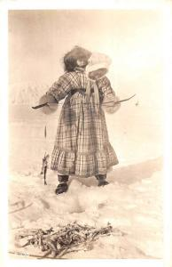 Alaska Native Woman With Child Fishing Real Photo Antique Postcard K93114