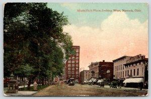 Newark OH~Kusters Restaurant~News Depot~Pillar Bigger Than Boy~Trolleys~1913 PC