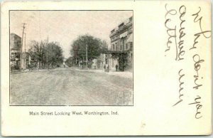 Worthington, Indiana Postcard MAIN STREET, Looking West Downtown / 1908 Cancel