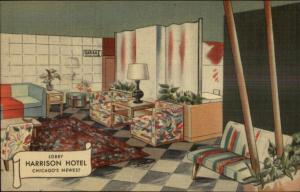 Chicago IL Harrison Hotel Lobby NICE LINEN Postcard