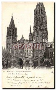 Old Postcard Rouen Facade of Notre Dame and the Butter Tower