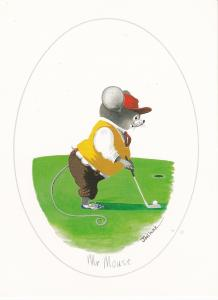 Post Card Comic Golf Mr Mouse by Joel Kirk