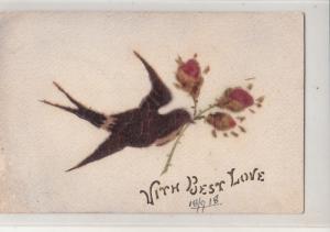 Material swallow bird best love greetings postcard 1918