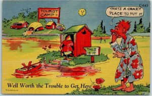 RAY WALTERS Comic Postcard Worth the Trouble Outhouse Curteich Linen #C-643