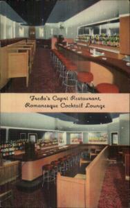 Boston MA Hanover St. Freda's Capri Restuarnt Linen Postcard