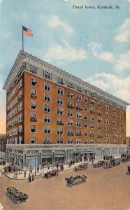 Keokuk IA~Hotel Iowa (Not Hotel Keokuk)~Window Flower Boxes~Porte Cochere c1914